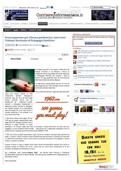 Articolo Corriere Informazione