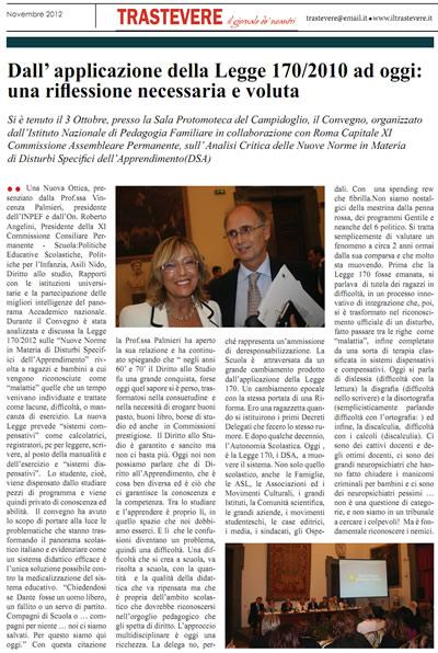 articolo trastevere novembre 2012